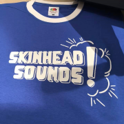 SKINHEAD SOUND T-SHIRT BLUE AND WHITE RINGER TRIM
